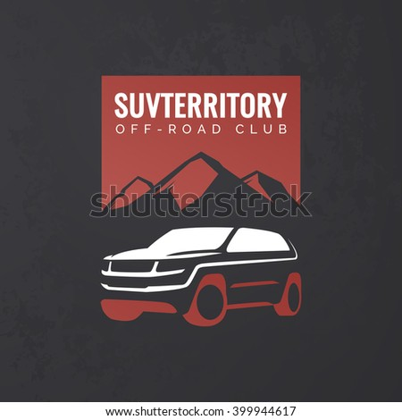Crossover suv car logo on grunge black background. Off-road suv adventure emblem, car club design elements. Isolated modern suv front and side view. - stock vector