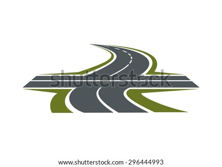 Crossroad abstract symbol with intersection of speed highway and rural winding road for transportation design - stock vector