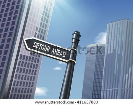 crossroad 3d black road sign saying detour ahead - stock vector