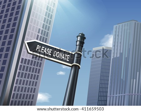 crossroad 3d illustration black road sign saying please donate - stock vector
