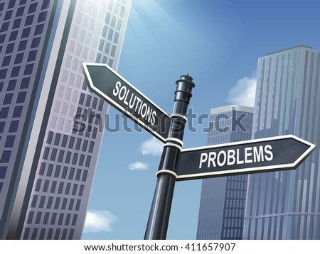 crossroad 3d illustration black road sign saying problems and solutions - stock vector