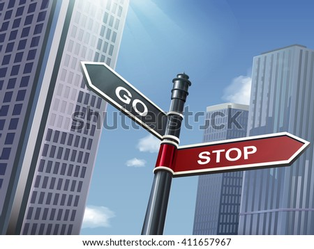 crossroad 3d illustration black road sign saying stop and go - stock vector