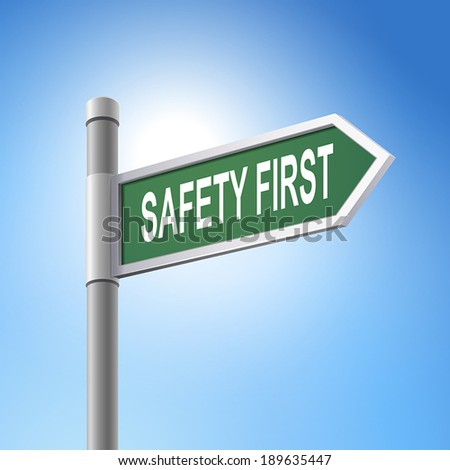 crossroad 3d vector road sign saying safety first - stock vector