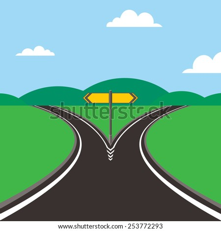 crossroad with direction sign - stock vector