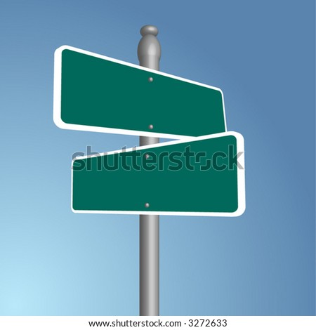 Crossroads signpost, vector art, fully editable, add your own text! - stock vector