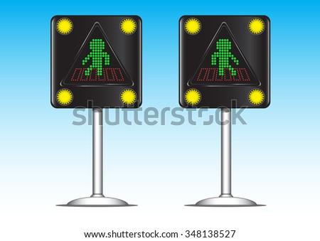 crosswalk traffic light sign vector - stock vector