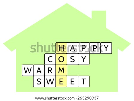 Crossword puzzle for the word Home and words Happy, Cosy, Warm, Sweet, vector illustration for the Home concept  - stock vector