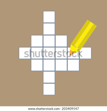 Crossword puzzle with  yellow pencil - vector illustration - stock vector