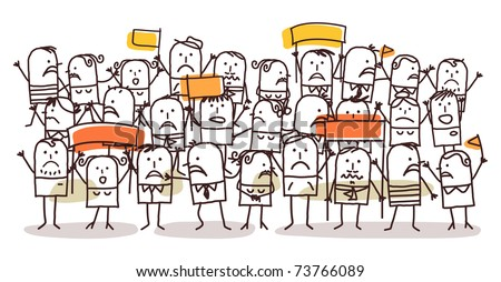 crowd and protest - stock vector