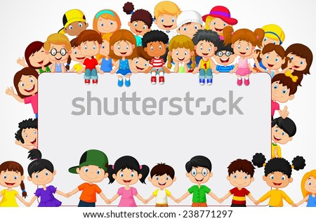 Crowd children with blank sign - stock vector