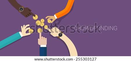 crowd funding money - stock vector