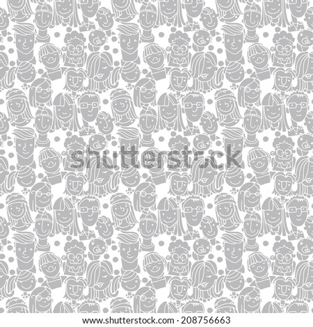 crowd funny people doodle grey - stock vector