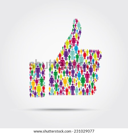 Crowd into a thumb up symbol - stock vector