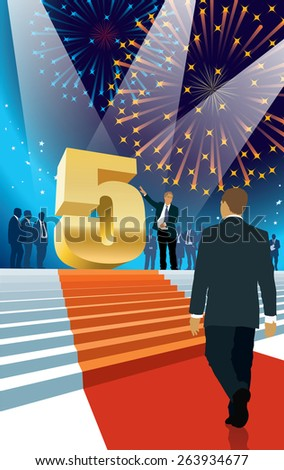 Crowd of businesspeople celebrating fifth anniversary, fireworks in the background - stock vector