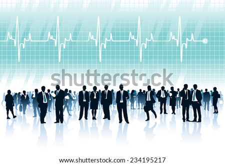 Crowd of businesspeople standing in front of big cardiogram with heartbeat - stock vector