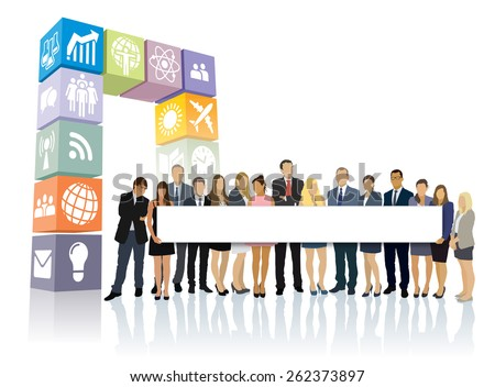 Crowd of businesspeople standing in front of new web portal and holding big long billboard. - stock vector