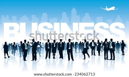 Crowd of businesspeople standing in front of white large inscription - stock vector