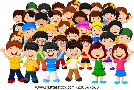 Crowd of children - stock vector