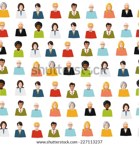 crowd of color flat people avatars seamless pattern - stock vector