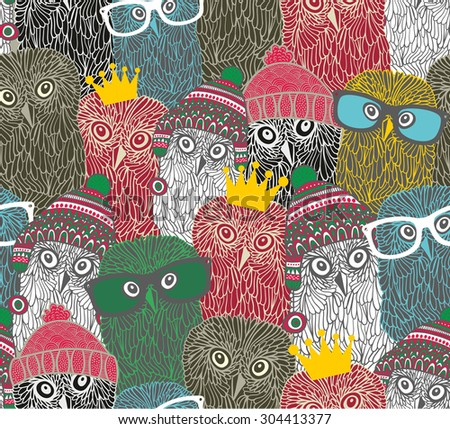 Crowd of cute doodle owl. Vector seamless pattern. - stock vector