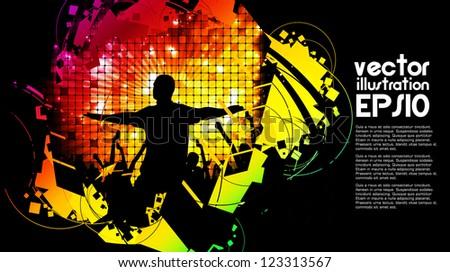 Crowd of dancing people - stock vector