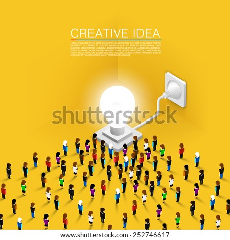 Crowd of people committed to the idea of. Vector illustration - stock vector