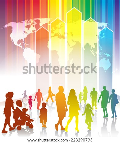 Crowd of people going to meet new better world - stock vector