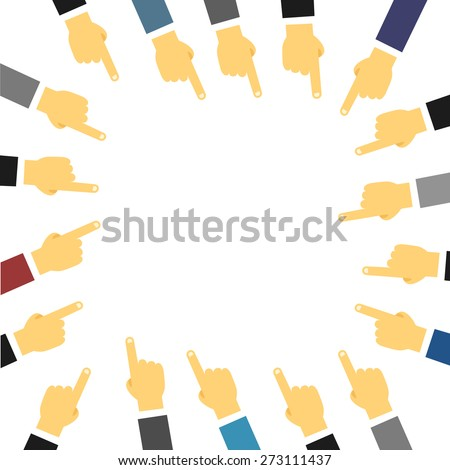Crowd of people hand pointing on center. Template for a text - stock vector