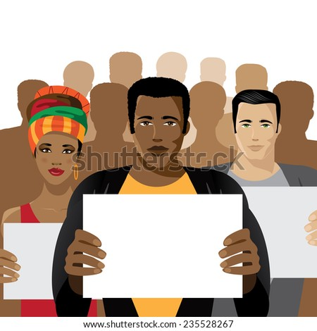 Crowd of people holding signs EPS 10 vector stock illustration - stock vector