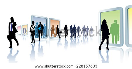 Crowd of people in virtual travel, from portal to portal. - stock vector