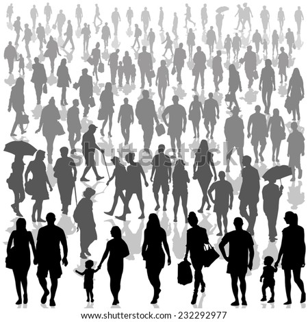 Crowd of people isolated on background. Vector illustration - stock vector