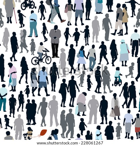 Crowd of people, pattern with men, women and children silhouettes.  - stock vector