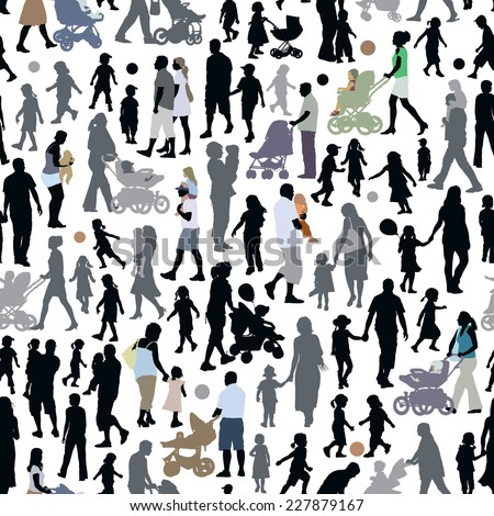 Crowd of people, pattern with parents and children silhouettes. - stock vector