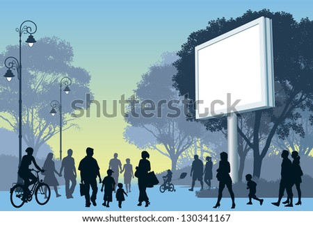 Crowd of people walking on a street and in a park. - stock vector