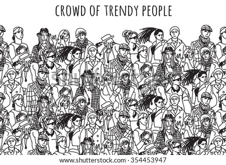 Crowd of trendy people black and white. Empty place for your text. Monochrome  vector illustration. EPS8 - stock vector