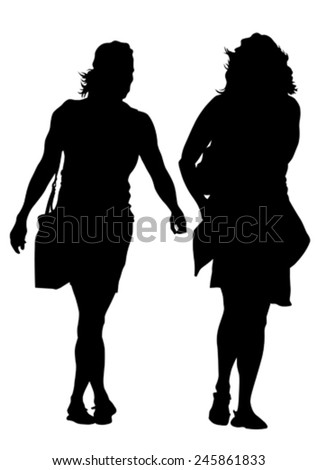 Crowd of young girls on white background - stock vector