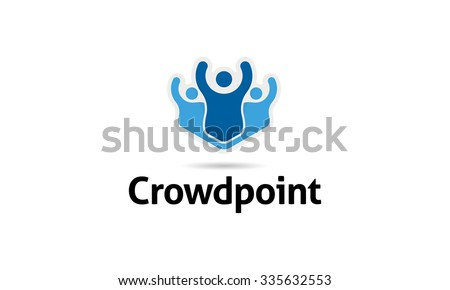 Crowd Point Logo - stock vector