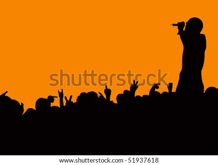 Crowd silhouette at music concert with artist singing with orange background - stock vector