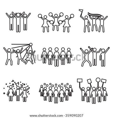 Crowd vector icon set - stock vector