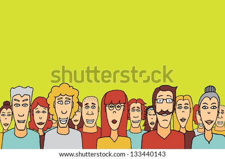 Crowd with copy space / Happy people together - stock vector