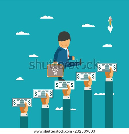 Crowdfunding vector concept with hands holding money like ladder of success - stock vector