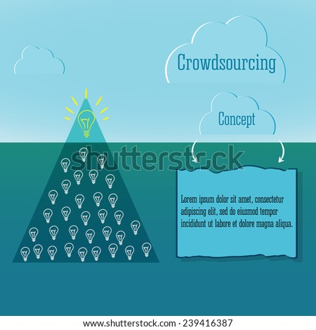 Crowdsourcing concept. Simple infographics. And snow winter clouds. Abstract triangle iceberg with numerous ideas. - stock vector