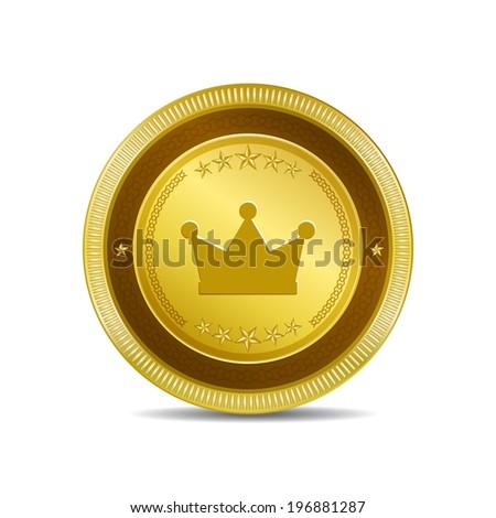 Crown Circular Vector Gold Web Icon Button - stock vector