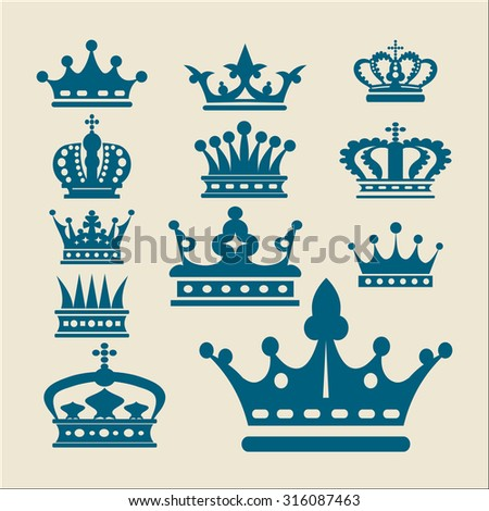 Crown. Collection icons. Old design vector concept. Vintage. - stock vector