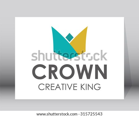 Crown creative origami king flat abstract vector logo design template decoration business icon art company identity symbol concept - stock vector