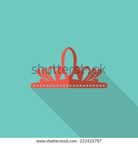 Crown icon, flat design vector - stock vector