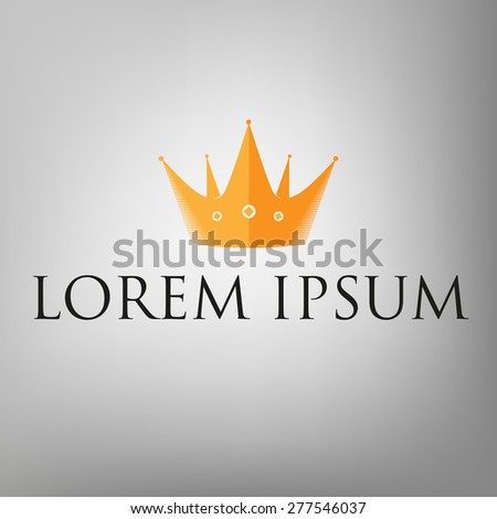 Crown icon, logo in flat style with detailed elements - stock vector
