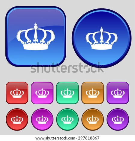 Crown icon sign. A set of twelve vintage buttons for your design. Vector illustration - stock vector