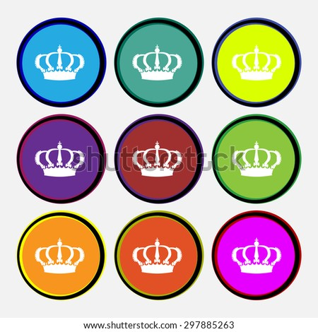 Crown icon sign. Nine multi colored round buttons. Vector illustration - stock vector