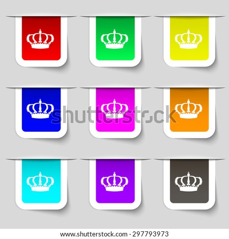 Crown icon sign. Set of multicolored modern labels for your design. Vector illustration - stock vector